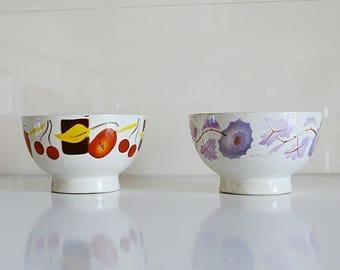 Ceramic bowl set Sacavem cereal bowls small ceramic bowls porcelain soup bowl made in Portugal Portuguese ceramics vintage 1950s RARE