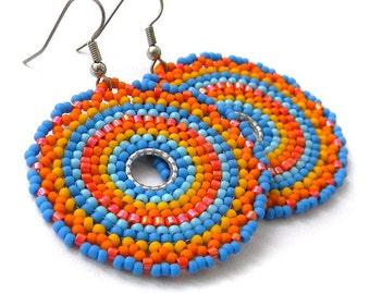 Ethnic beaded earrings Statement bohemian earrings Dangle seed bead earrings Hippie boho earrings Mandala earrings Large unique earrings