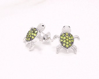 Green Turtle Stud Earrings, CZ Turtle Earrings, Silver Animal Studs, Turtle Jewelry, Turtle Earring Studs, Silver Turtles, Sea Turtle Studs