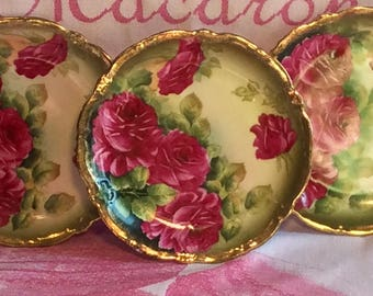 Pretty in Pink-and Green-P T German Hand Painted Plates-3 Available