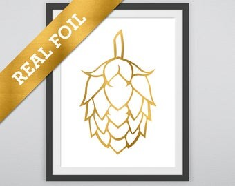Beer Hops Print #1: Hops printed in Real Gold Metallic Foil - Drinks - Summer - Beer - Brewing Prints - Good Times and Fun