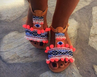 Boho Sandals, Leather Sandals, Bohemian Sandals, Greek Sandals, Summer Sandals, Made in Greece by Christina Christi Jewels.