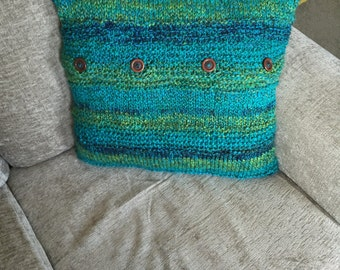 """Knitted cushion with wooden button back fastening 16"""" X 16"""" Hand Knitted comes with or without inner"""