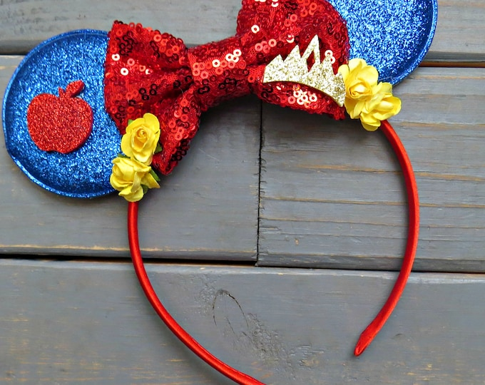 Snow White Inspired Mouse Ears, Mouse Ear Headband, Vacation Headband, Mouse Crown, Gifts For Girls