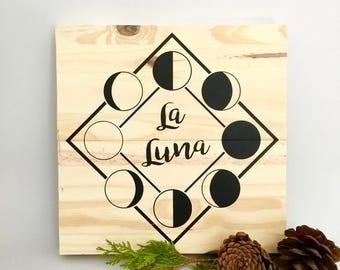La Luna Painting, Moon Cycle Art, The Moon Painting, Full Moon, Crescent Moon, New Moon, Wood Wall Art, Moon Home Decor, Moon Wall Decor