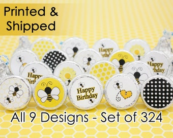 Honey Bee Party Ideas - Happy Birthday Decorative Stickers for Hershey Kisses Party Favors - Envelope Seals - Happy BeeDay Baby (Set of 324)
