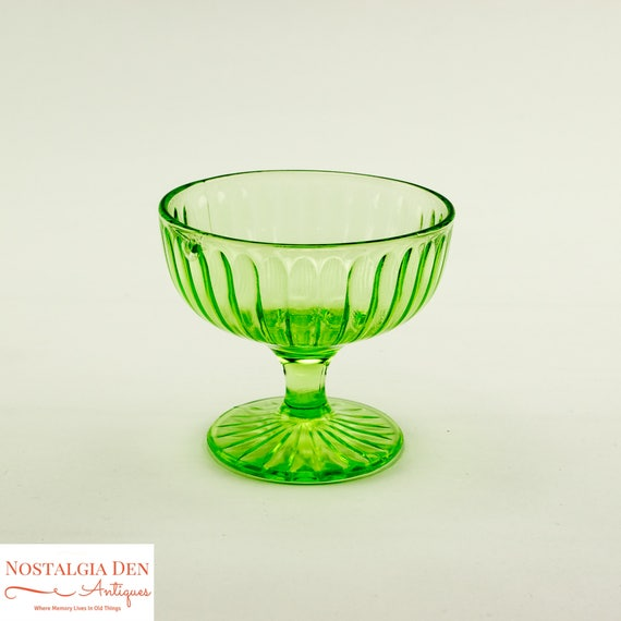 Green Depression Glass | Uranium Glass | Dessert Dishes | Glass Sherbet Side Dishes