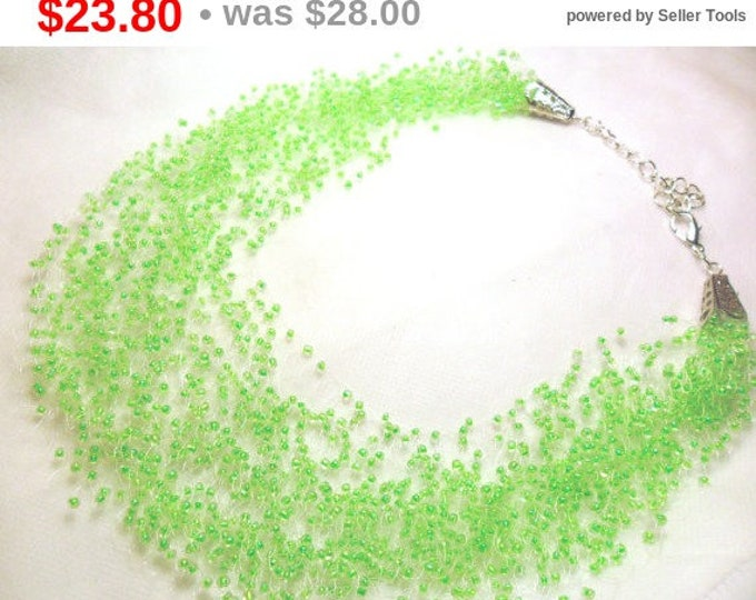 Light green necklace mint necklace airy crochet multistrand bridesmaid statement green gift for her unusual gift idea casual everyday beaded
