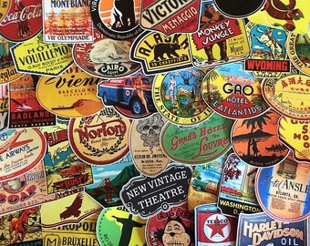 Set of retro stickers stickers, travel, travel, vintage old school, memories