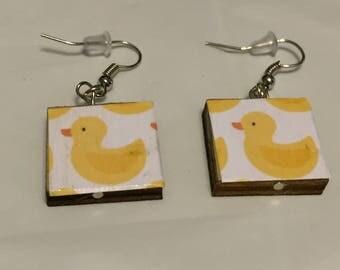 Rubber Duck Scrabble Tile Earrings