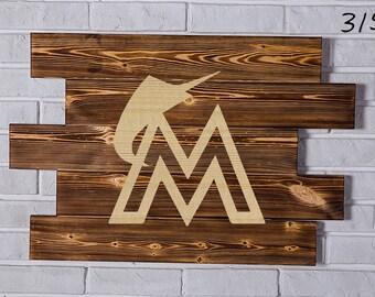 Miami Marlins Wood Sign Miami Marlins Wall art Miami Marlins Gift Miami Marlins Birthday Miami Marlins Party wooden