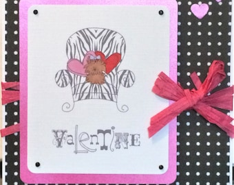 OOAK One of a kind Handcrafted Black & Pink Dog Pooch Valentine Card