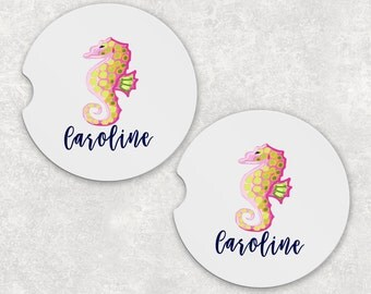 Monogrammed Car Coasters - Seahorse - Cup Holder Coasters Personalized Sandstone Coasters Car Accessories For Women Gifts For Her