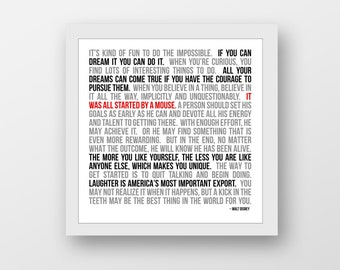 Disney, Walt Disney, Disney World, Disney Quotes, Typography, Wall Art, Mickey Mouse, Inspirational Disney