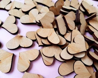 100 Wooden Hearts,Unfinished Wooden Hearts Wooden Hearts for Cardmaking,Wooden hearts scrapbooking,