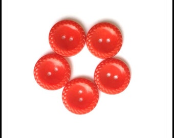 Red Vintage Plastic Buttons - Set of Five (5) Red Buttons