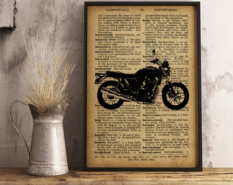 Vintage Motorcycle Print, Illustration Mixed Media Collage with Dictionary Page, Cotton Canvas Print, Motorcycle club decor (M01)