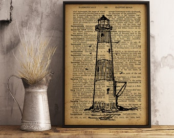 lighthouse print, Nautical Decor, lighthouse Dictionary Art Print, Nautical print, Gift for sailor (K08)