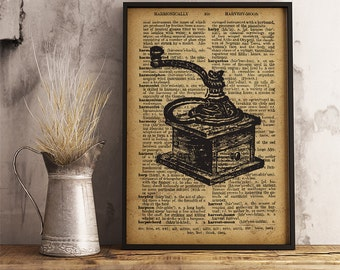 Coffee grinder print, Vintage style dictionary print, Antique coffee grinder poster, Coffee time print kitchen decor  (V08)