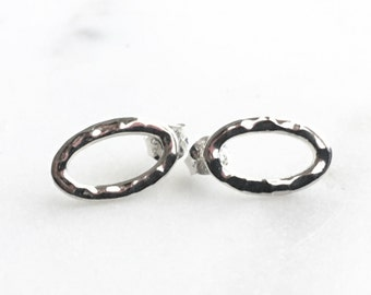 Sterling Silver Oval Hammer Textured Post Earrings