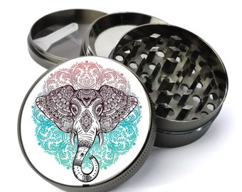 Elephant Colorful Mandala #76 Extra Large 5 Piece Spice Tobacco Herb Grinder with Pollen/Keef Catcher - Spiritually Inspired Weed Grinders
