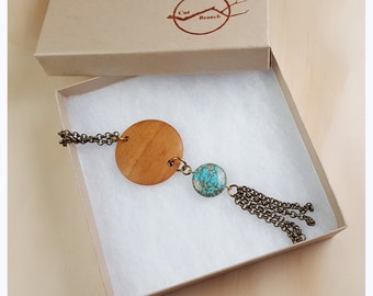 Wood Medallion, Long Necklace, boho necklace, reclaimed wood jewelry, long necklace, gypsy jewelry, hippie chic, upcycled necklace -WN005