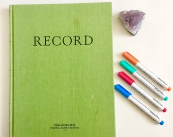Vintage Federal Supply Service Record Ruled Green Cover Notebook Book New Unused Hardcover