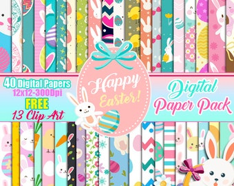 Easter Digital Paper Pack FREE Clip art, Cute easter spring, scrapbook papers, wallpaper, Easter Background, Easter Day, Bunny, Spring