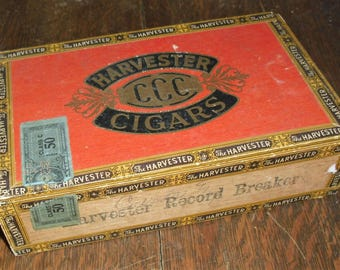 Harvester Wood Cigar Box with Tax Stamp Priced 6 Cents Handsome Horse Art