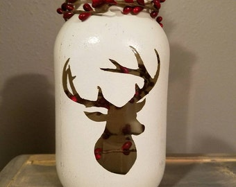 Hand Painted and Distressed Deer Jar