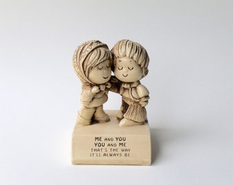 Vintage 1970's Paula statue. Me and you, you and me love statue. Vintage valentines statue.