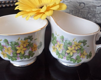 Queen Anne Clover and Daisy Creamer and Sugar Bowl - Vintage Tea Time or Shabby Chic Decor