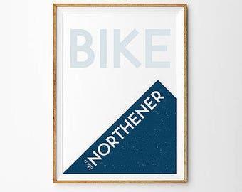 Bike Like a Northerner A4 Print Art Wall Art Blue