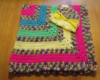 "NEW Handmade Crochet 30"" Baby Blanket and Hat/Beanie Set - Neon Stripe Rainbow Variegated - A Wonderful Baby Shower Gift!! - SEE NOTE!"