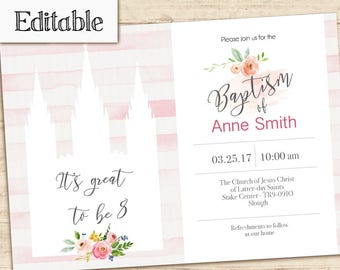 Baptism Invitation Girl Editable file, Editable PDF, Temple, Watercolor, LDS Baptism Invite, No Photo Needed, Baptism template