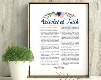 LDS Articles of Faith Digital Print, Printable, LDS print, LDS Beliefs Wall Art Print, Home Decor, Watercolor, Flowers 8x10, 18x24