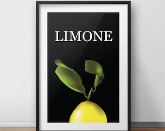 Lemon Instant Download Poster Food Art Wall Art Kitchen Decor Vector