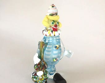 Venetian ArtGlass Clown Figurine handmade made in Italy. This clown is hand blown with a vibrant array of colors by J.I. Co.