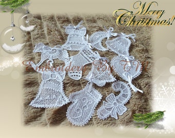 Christmas decoration lace- set of 10 pieces- 4x4 hoop
