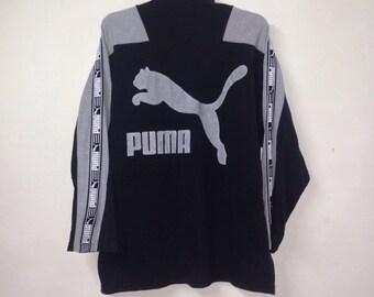 VINTAGE PUMA big logo sweatshirt pullover half zipper