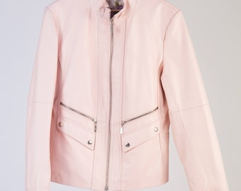 Pink Leather Jacket 90 ', Versace Style pockets with zip 100% handmade-cod D58