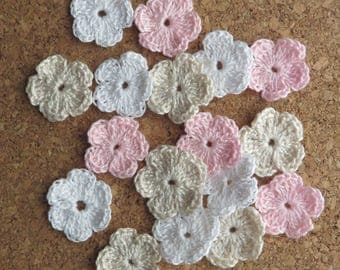 18 small flowers made crochet in off-white colors - pink & white cotton (2.5 cm - 1 inch)