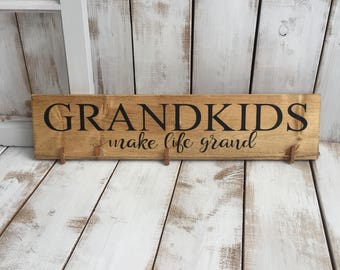 Grandkids Make Life Grand | Wood Sign | Rustic Wooden Sign | Home Décor