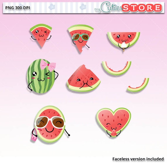 Funny Watermelon Doodle Kawaii Clipart Cute digital Graphics