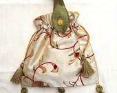Medieval AngloSaxon Style White Embroidered Silk Hand Bag Purse Jewellery bag bridesmaid bag Handmade silk Dupioni lining Novelty gift