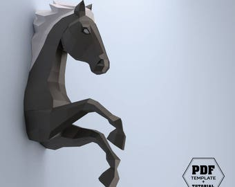 DIY Horse papercraft, 3D papercraft PDF, Make your own horse, Papercrafting, Horse DIY, Low poly horse, Horse lovers, Spirit stallion