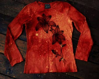 Unique orange hand dyed lily handpainted longsleeve stretch shirt size M