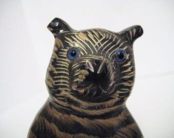 Carved Wood Cat Figurine / Striped Cat / Vintage