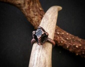 Raw Smokey Quartz & Copper Ring Size 8.5