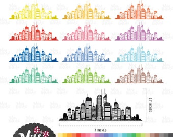 30 Colors City Clipart / town silhouette - Instant Download